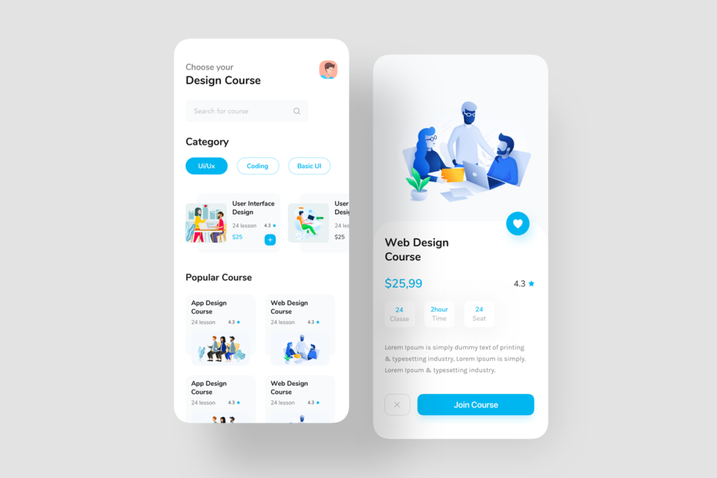 Flutter Fitness, Hostel Booking and Course Training UI Templete