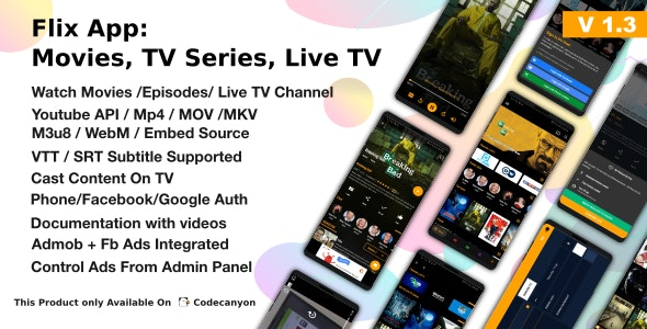 Flix App v1.3 - Movies - TV Series - Live TV Channels - TV Cast Source code Free Download