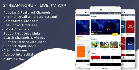 Streaming4u v1.1- Live Tv and Streaming app with Admin panel Source code Free Download