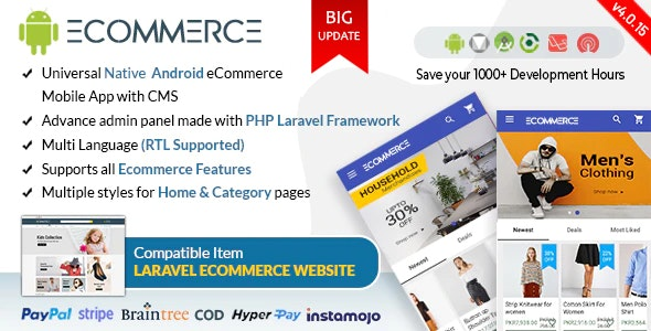 Android Ecommerce v4.0.14 - Universal Android Ecommerce Store Full Mobile App with Laravel CMS Source code Free Download