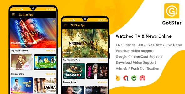 GotStar v1.0 - Android Live TV - Live Streaming - Web Series, Movies, Live Cricket - Online News Source code Free Download