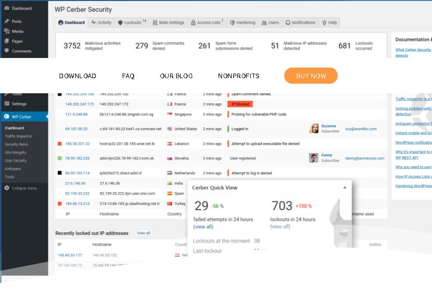 WP Cerber Security Pro v8.6.5 - WordPress Antispam & Malware Scan WordPress Plugin Free Download