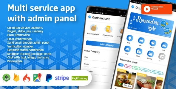 Ouride v2.1.0 - Multi Service App With Customer App, Driver App, Merchant App and Admin Panel - nulled Source code Free Download