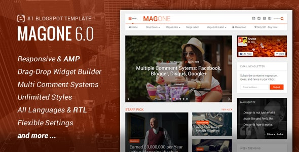 MagOne v6.7.8 - Responsive News & Magazines Blogger Template Free Download