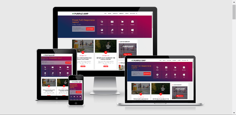 Purple AMP HTML Responsive Blogger Template Free Download